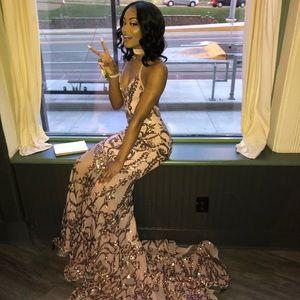 Rose fold prom dress